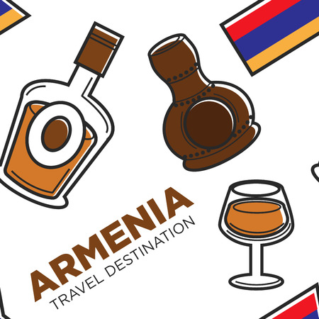 Armenia travel destination alcohol drinks traditional beverage Illustration