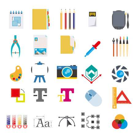 Toolkit for art creation program isolated icons computer