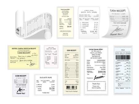 Compras en efectivo recibo cheques en papel y pago de precios vector restaurante factura supermercado o productos comestibles lista de compras ropa y suministros raya de papel entretenimiento y pago de servicios.