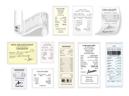 Shopping cash receipt paper checks and prices payment vector restaurant bill supermarket or grocery products purchases list clothes and supplies paper stripe entertainment and services payment.