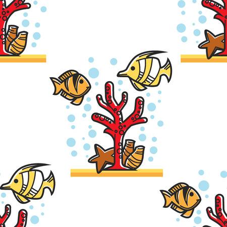 Coral reef Egypt beach resort seamless pattern diving Illustration