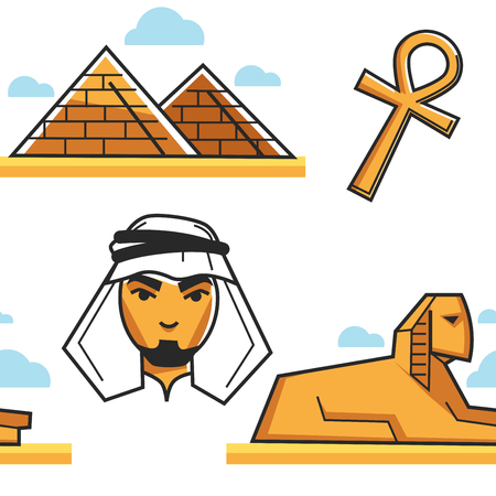Pyramid and Sphinx Bedouin and coptic cross seamless pattern vector Egypt travel buildings or architecture Egyptian man religion symbol tourism and traveling attraction African country symbols desert.