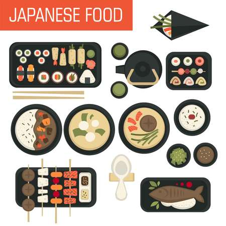 Seafood Japanese food sushi and soups green tea and rolls vector fish on skewer and baked salmon wasabi and soy sauce bowl and plate teapot and cup oriental cuisine Japan miso soup prawn and tuna.