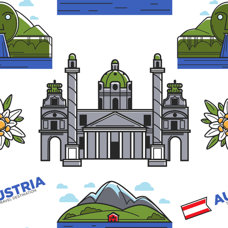 Austria nature and architecture seamless pattern Karlskirche and Swarovski fountain