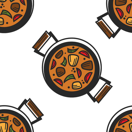 Guvech dish in pan Bulgarian dish seamless pattern vector meat and vegetables with gravy endless texture food ingredients Bulgaria cuisine wallpaper print national culinary and tourism traveling.