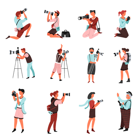 Photo camera and photographers men and women with isolated male and female characters vector shooting or photographing paparazzi or journalists tripod and bags with spare lenses photography and shots.