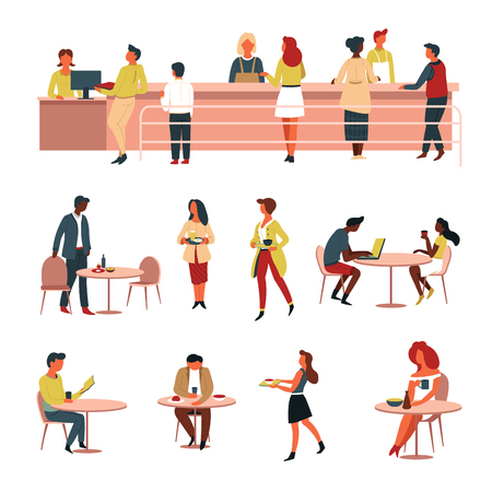 Food and nutrition canteen line cash counter and tables vector office or university buying and eating meals dishes lunch cashier and sellers in apron colleagues eating together isolated characters.