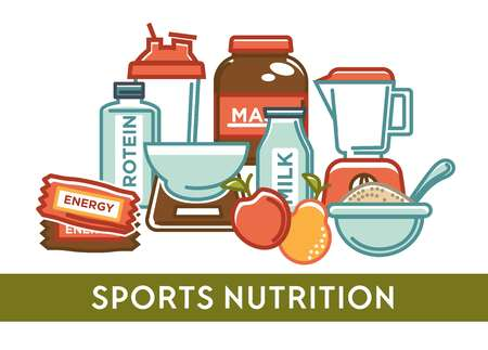 Sport nutrition gaining weight protein and organic products Illustration
