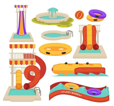 Aquapark swimming pool slides and inflatable ring water attractions vector isolated objects spiral tube and lazy river banana and ball summer entertainment activity and having amusement park pipe.