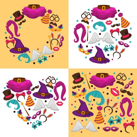 Costumes carnival or halloween clothing and garments festive decor vector tall hat and skirt cone hat and star glasses angel wings witch headdress bow and mustache eyeglasses and wigs rabbit ears.