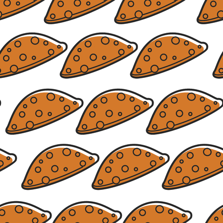 Bakery or pastry food chebureki Georgian cuisine seamless pattern vector meal or dish of dough and minced meat endless texture Georgia culinary cooking or baking wallpaper print tourism and traveling.