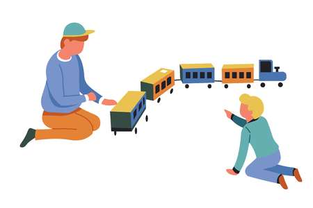 Boys playing game locomotive children play with toy train vector isolated characters kindergarten and childhood puffer with railway carriages transport friends having fun preschoolers entertainment Illustration