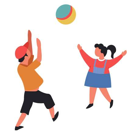 Children active game outside boy and girl throwing rubber ball vector isolated characters brother and sister playing volleyball kids entertainment preschooler and schoolboy outdoor leisure pastime.