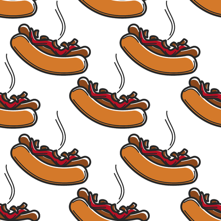 Iceland fast food hot dog with ketchup and fried onions seamless pattern vector bun and sausage steaming dish traveling and foreign cuisine street meal and sauce endless texture cooking and culinary.