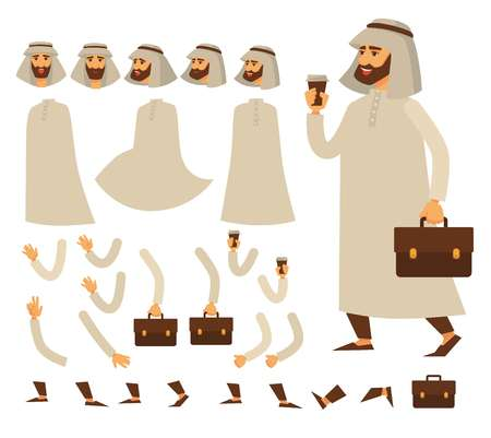 Guy or arab man constructor heads and body parts isolated male character white dressing and briefcase coffee cup traditional head dress and white robe hands and faces energetic drink gesture.