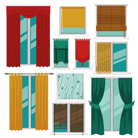 Curtains blinds and shutters on windows fabric and wood interior design