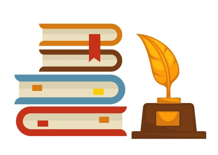 Writer profession book pile and gold feather award isolated objects vector textbooks or roman novels with bookmarks reward best poesy win talent prize knowledge and wisdom encyclopedia stack. Illustration