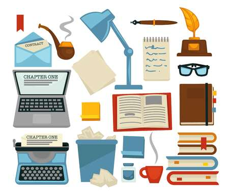 Content writing equipments and objects laptop and lamp vector glasses and envelope with letter pipe and typing machine bin with pages and books with bookmarks cup of coffee feather ink flat style set.