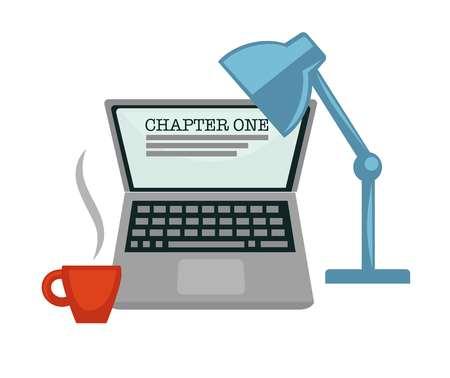 Computadora portátil y lámpara taza de café capítulo uno escritura novela vector computadora aislada y luz bebida energética escritor profesión dispositivo luz y bebida energética narración literaria trabajo creación historia.
