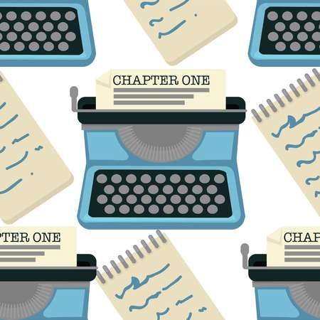 Novel writing typing machine seamless pattern chapter one vector retro device and handwriting in notepad endless texture writer equipment literature plot and notepad author profession wallpaper.