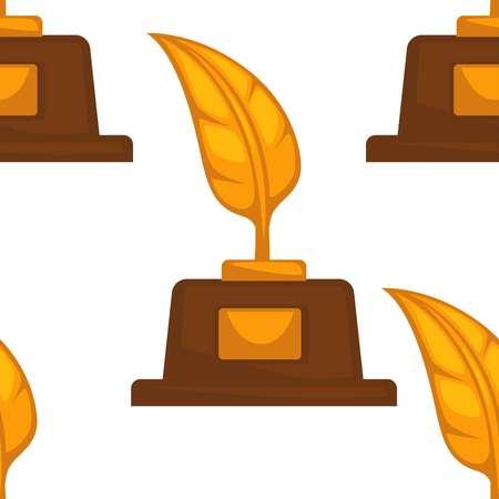 Gold feather prize writer award seamless pattern vector reward talent achievement literature and literacy endless texture win poet novelist awarding wallpaper print writing author creativity