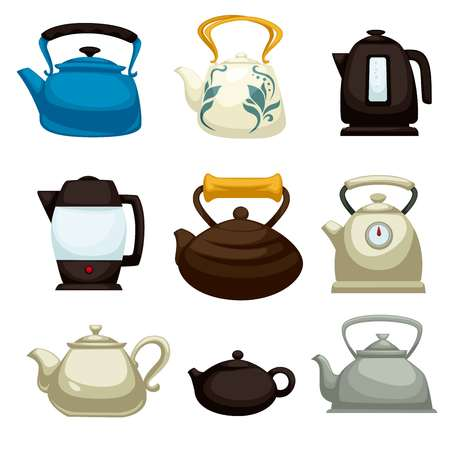 Kitchen items teapots electric pots and kettles isolated objects vector ceramic and clay plastic and metal teakettles brewing tea boiling water dishware kitchenware timer and ornament cooking.