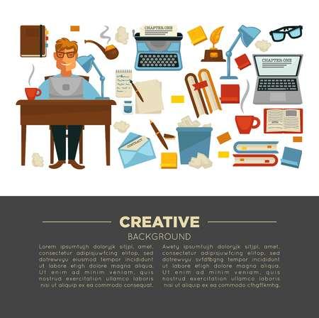 Laptop and typing machine creative profession writer and writing items vector man and coffee cup organizer and smoking pipe novels and poesy letter and books eyeglasses and gold feather award. Çizim