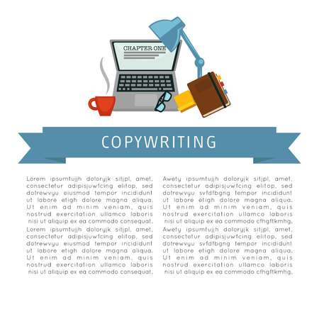 Copywriting workplace laptop and coffee cup notebook