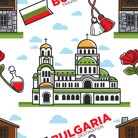 Bulgarian traditions Bulgaria travel destination seamless pattern vector Memorial Church of Alexander Nevsky and baba Marta holiday symbol martenitsa rose flower and perfume bottle endless texture.