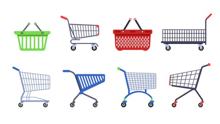 Shopping supermarket carts or trolleys and baskets container on wheels vector empty pushcart with handle market or grocery store convenience retail and wholesale purchase and buy transportation.