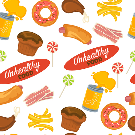 Unhealthy food seamless pattern pastry and fastfood soda vector seamless pattern donut and chicken drumstick french fries and hotdog cupcake and bacon lollipop endless texture fat and calories.