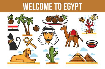 Tourism Egyptian symbols architecture cuisine and nature traveling
