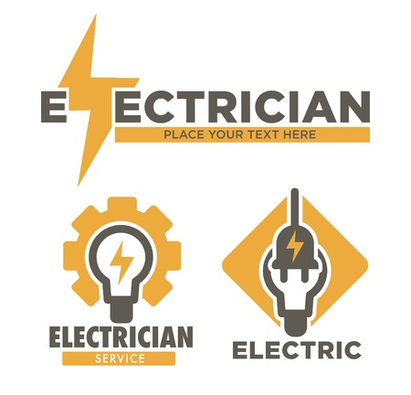 Electric repair and electrician service and works isolated icon vector thunder and light bulb plug wiring and currency power technician or repairman equipment and installation voltage energy supply.