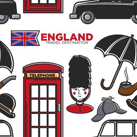 England travel destination seamless pattern English symbols