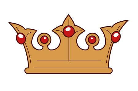 Monarchy symbol king gold crown inlaid with rubies isolated object vector royalty headdress power and authority kingdom ancient coronet or heraldry gemstones jewelry decoration treasure Medieval age.