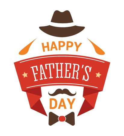Happy fathers day isolated greeting icon hat mustache and bowtie