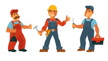 Plumber electrician and repairman isolated technicians in uniform vector men in overalls and helmets plunger and hammer drill and screwdriver toolkit tools and work uniform isolated characters. Vector Illustration