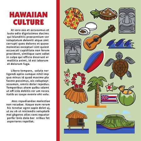 Hawaiian culture tourism beach resort Hawaii symbols Illustration