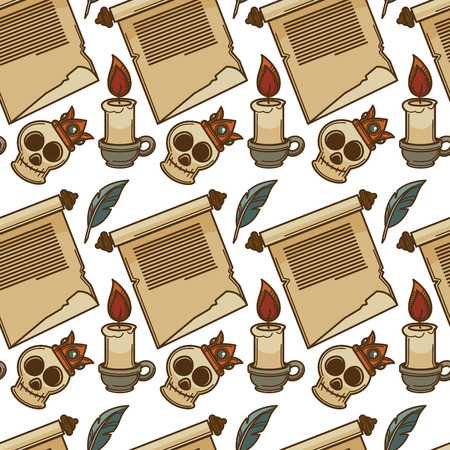 Paper scroll and candle skull in crown and feather vector seamless pattern papyrus ancient sheet manuscript and flame antique pen endless texture literature and literacy text history knowledge.