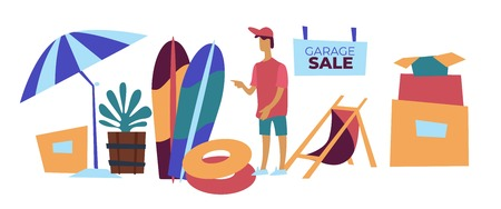 Garage sale selling beach items second hand goods vector umbrella and surfboard inflatable ring or life buoy and recliner plant and cardboard boxes boy customer shopping declutter surf and parasol.