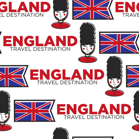 England travel destination seamless pattern flag and royal guard
