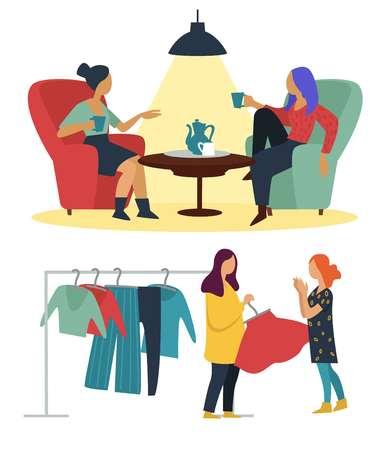 Shopping und Kaffeepause Freundinnen Café und Modeboutique Freundschaft vektor Frauen sprechen und trinken Tee am Tisch Teenager, die Kleidung auf dem Rack auswählen, Freizeitbeschäftigung, Mädchenfreunde treffen. Vektorgrafik