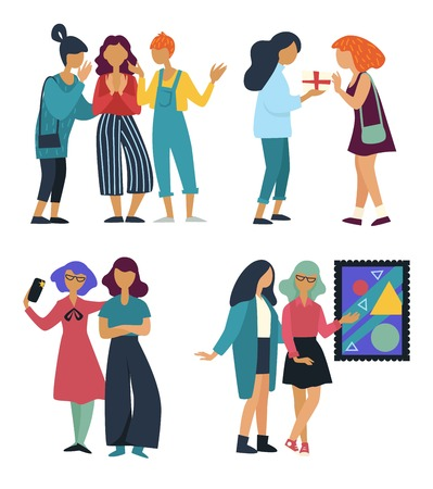 Girlfriends gathering or meeting vector isolated groups of characters talking and exchanging gifts or presents taking selfie and picture gallery schoolgirls walking art and leisure activity friendship. Иллюстрация