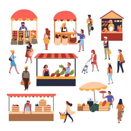 Les vendeurs et les clients commercialisent des tentes et des comptoirs fruits et légumes pâtisserie vecteur pain frais ferme récolte pastèques et melons sacs à provisions achat vente vente et achat d'aliments biologiques.