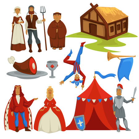 Medieval ages peasants and royalty history isolated characters 向量圖像