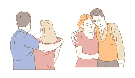Embrace son and mother husband and wife hugging isolated male and female characters vector family or couple front and back view relationship friendship and love closeness and affection feelings.