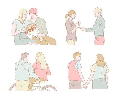 Romantic date dating couples bouquet evening walk and bike riding vector rose flowers man and woman sitting bicycle boyfriend and girlfriend holding hands relationship love and affection girl and guy. Illustration