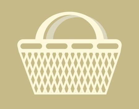 Basket shopping bag empty container carry products item vector isolated object market or grocery store convenience retail and wholesale purchase and buy supermarket handbag with grid and handle. Illustration