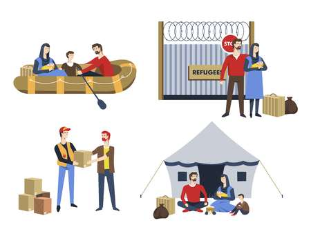 Family refugees parents baby and child baggage vector boat and border fence with wiring boxes with humanitarian aid tent camping resettlement illegal immigration political asylum immigrants war escape.