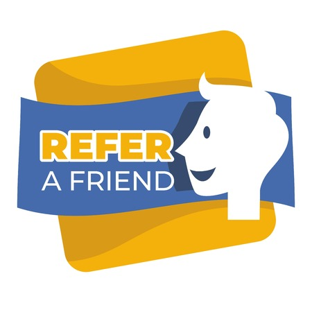 Refer friend button isolated icon social media Illustration